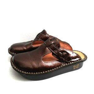 Alegria Brown Patent Leather Mule Alg-111 Sz 37